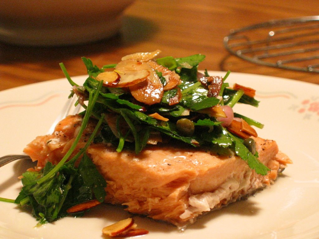 baked salmon with toasted almond & parsley salsa