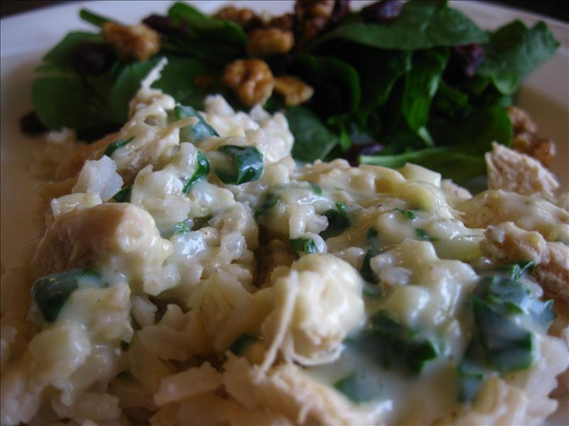 creamy-spinach-white-sauce-over-chicken-and-brown-rice